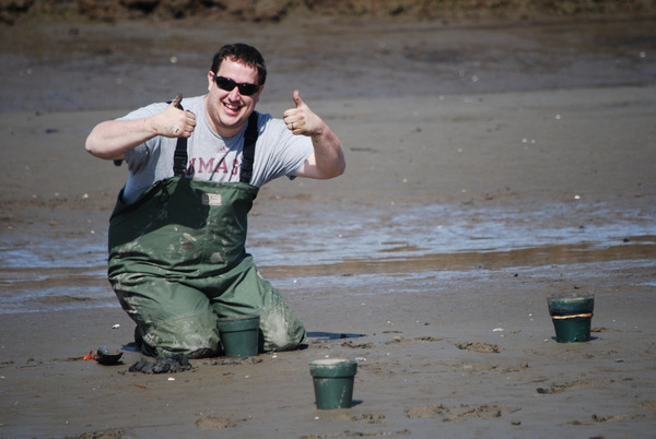 eremy Miller is awfully proud of himself here at the low intertidal in the Webhannet River (May 11, 2014)