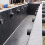Closeup of inside of the fiberglass tank.