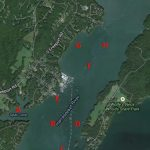 Areas in the Harraseeket River where green crab traps are being fished in 2014.